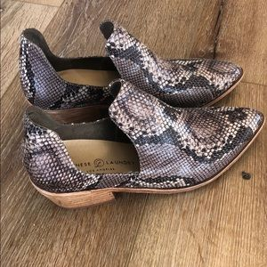 Snakeskin booties by Chinese Laundry